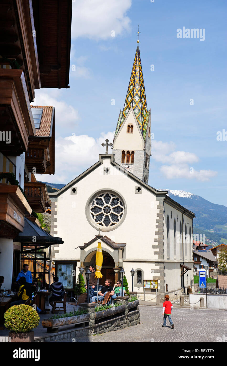 Saint Jakobus parish church with the crooked church tower, Barbian, Eisack Valley, South Tyrol, Italy, Europe - Stock Image