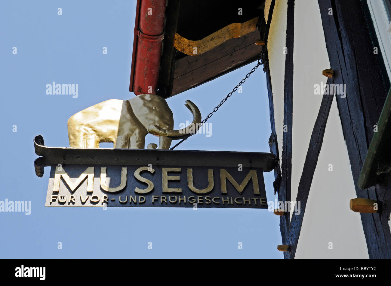 Elephant, sign, the museum of Pre-and Early History, Luisenhuette, cultural monument, Naturpark nature reserve Homert, - Stock Image