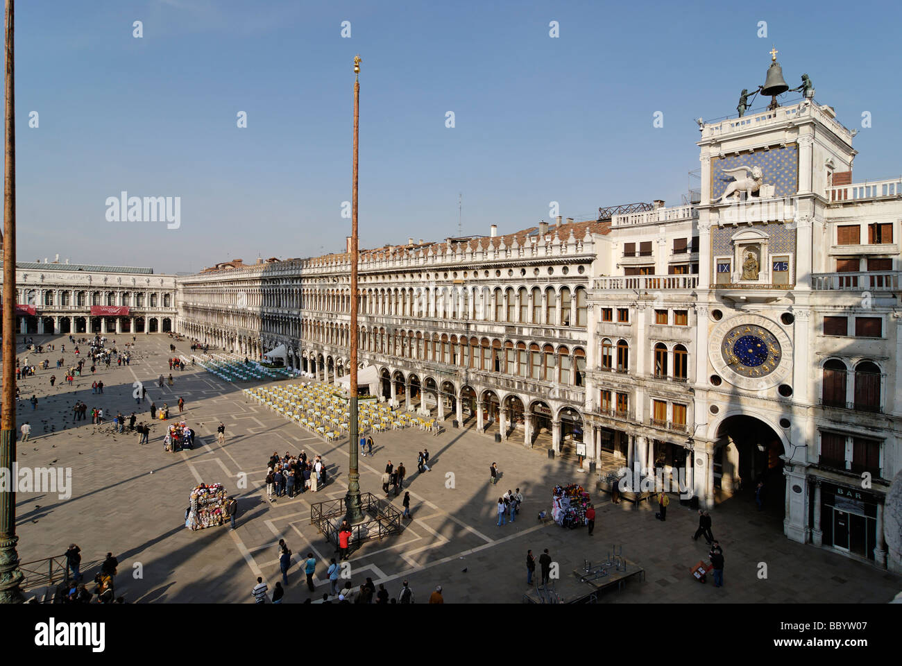 View from the San Marco's basilica to the Piazza San Marco with the bell tower Torre dell Orologio, Venice, Venezia, Stock Photo