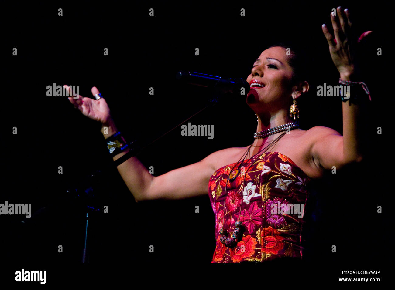 The Mexican singer Lila Downs live in the concert hall of the KKL Lucerne, Switzerland - Stock Image