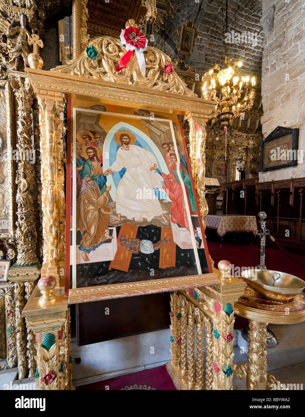 A painted biblical scene, Lazarus Church, Agios Lazaros, Larnaca, Southern Cyprus, Cyprus, greek part, Europe - Stock Image