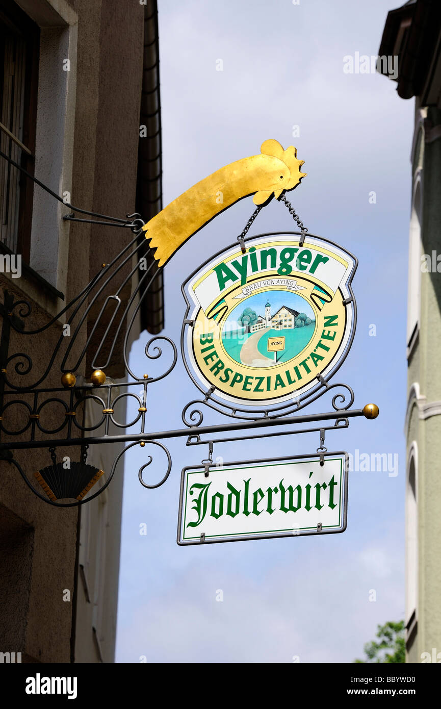 Tavern sign in the old town of Munich, Bavaria, Germany, Europe - Stock Image
