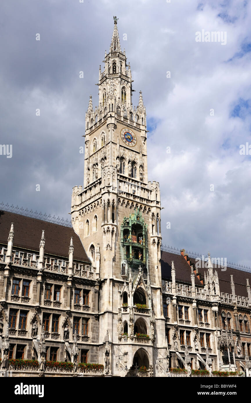 The 85 meter high tower of the new city hall on the Marienplatz square in Munich, Bavaria Munich, Europe - Stock Image