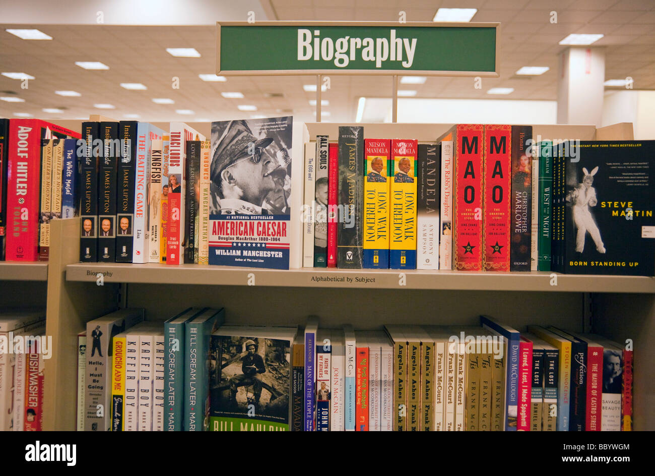 biography book shelves, Barnes and Noble, USA - Stock Image