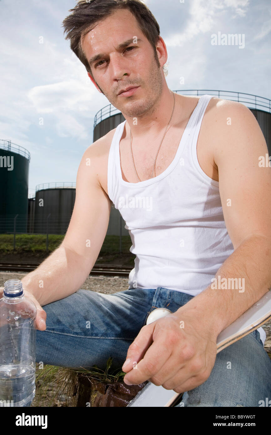 Young man, exhausted - Stock Image