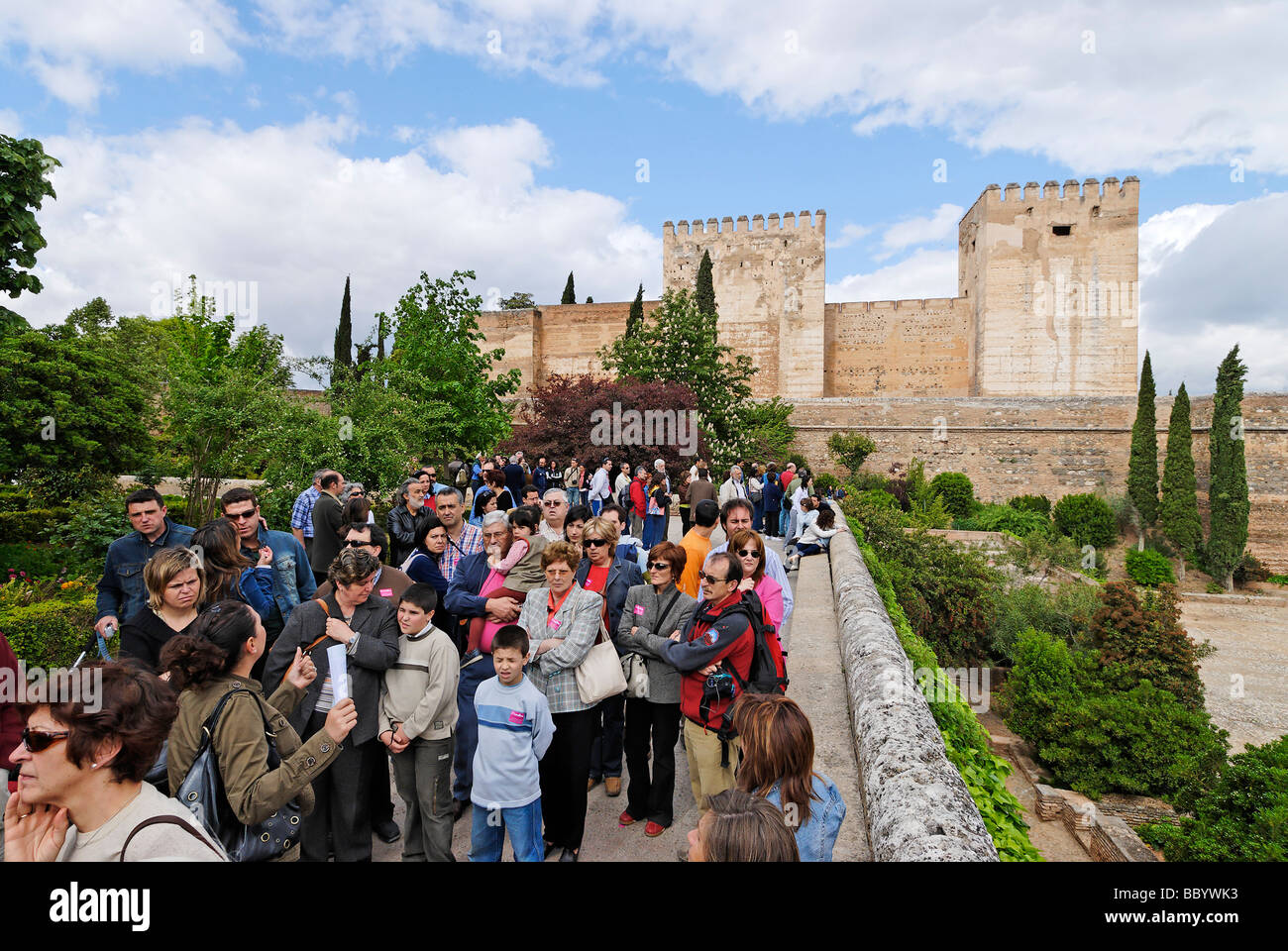Tourists are waiting for the admission to the Moorish Prince's Palace in front of the palace of Emperor Charles - Stock Image