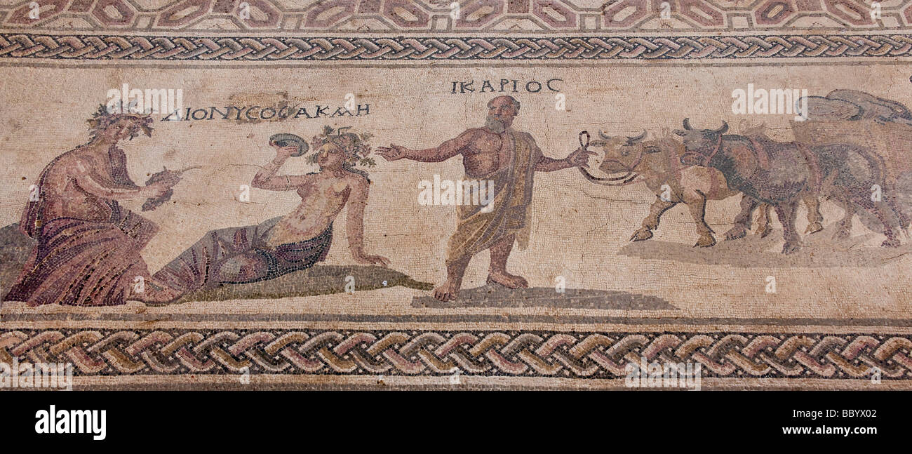 Ancient mosaic floor in the Archaelogical Park, Paphos, Southern Cyprus, Cyprus, Europe - Stock Image
