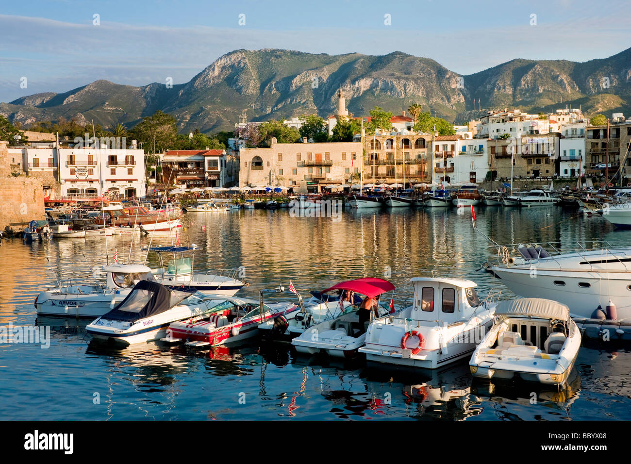 Evening mood at the fishing port of Kyrenia, also known as Girne, Northern Cyprus, Cyprus, Europe Stock Photo