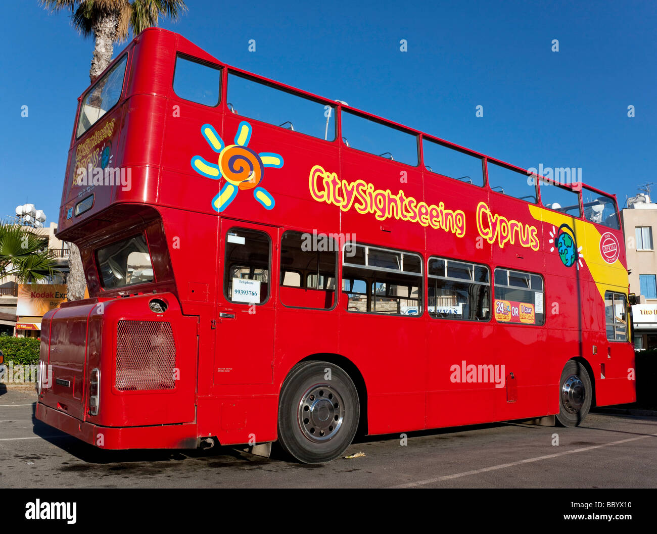 Bus for city tours, Paphos, Southern Cyprus, West Coast, Cyprus, Southern Europe, Europe Stock Photo