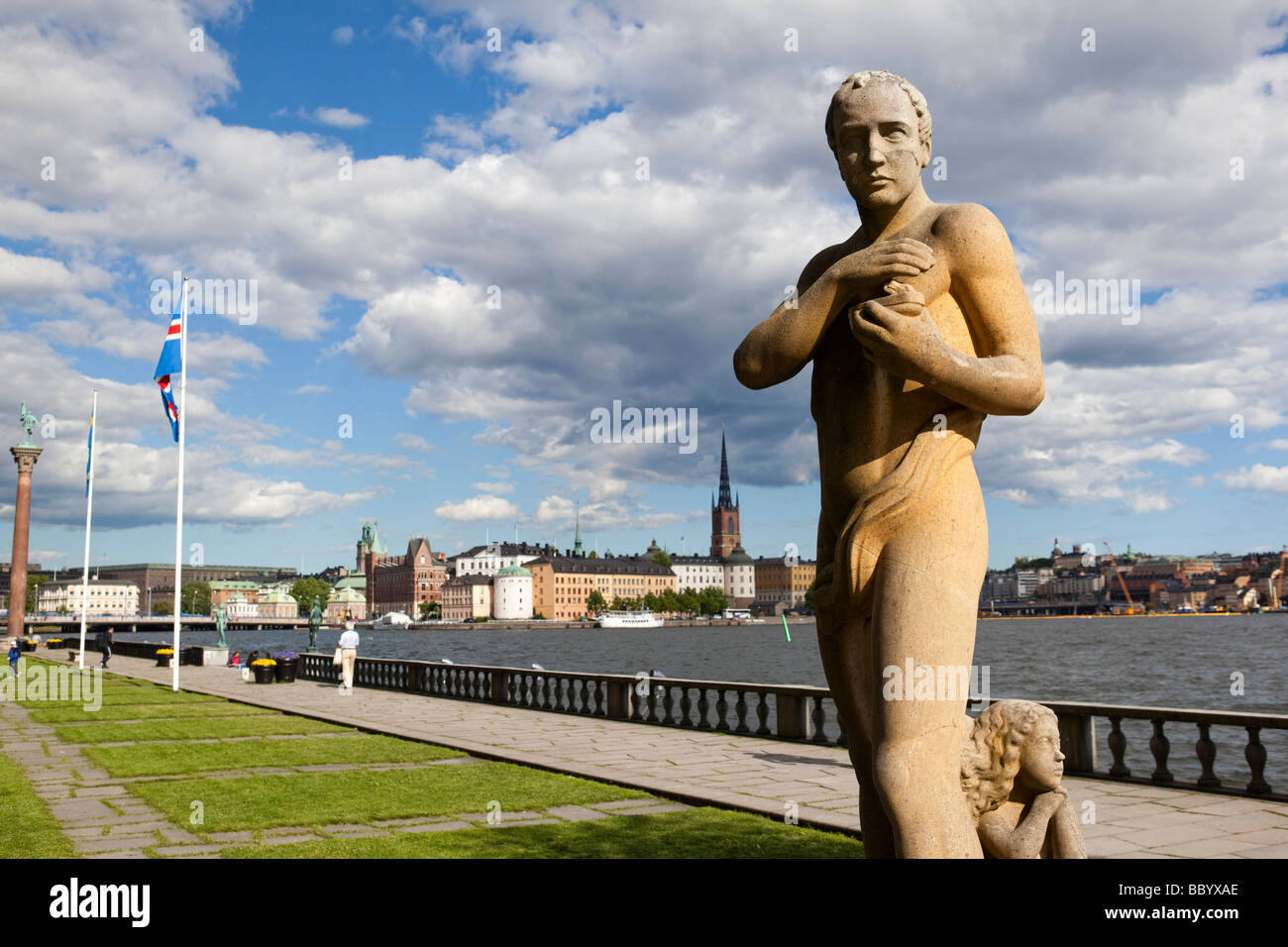 Statue of the Poet, City hall, Stockholm (Sweden) - Stock Image