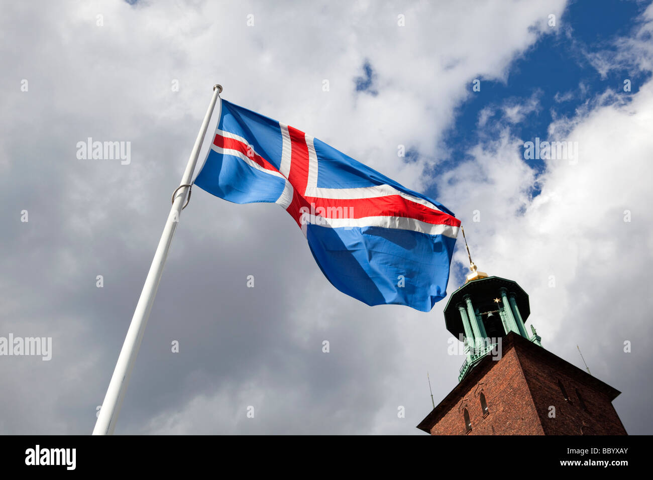 The flag of Iceland is raised in front of the City Hall in Stockholm in the summer of 2009 - Stock Image