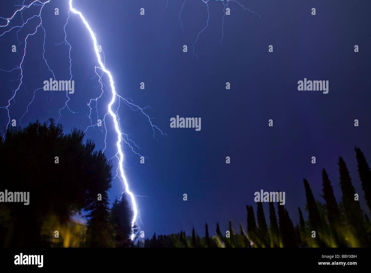 lightning bolts at Thessaloniki,Greece Stock Photo