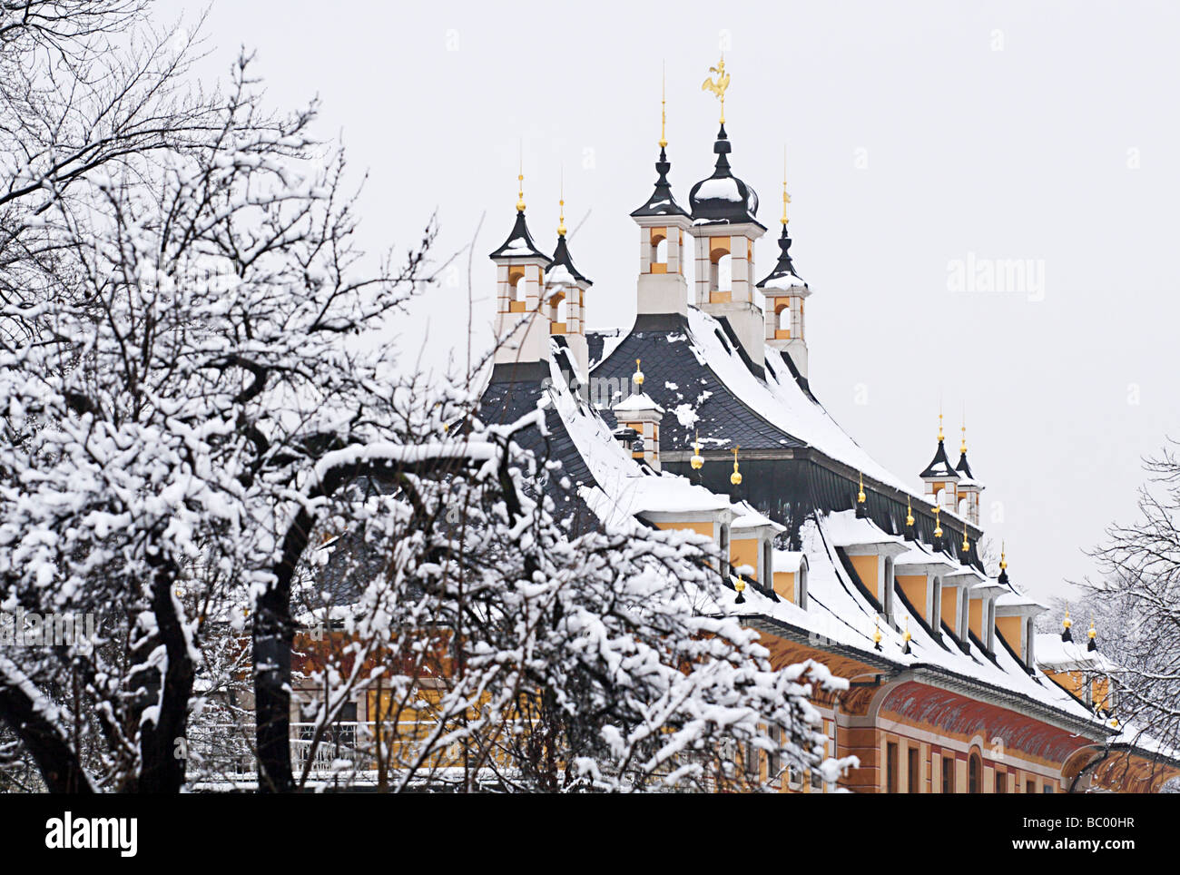 View of the snow-covered spire-spicked roof of Pillnitz Castle near Dresden, Germany - Stock Image