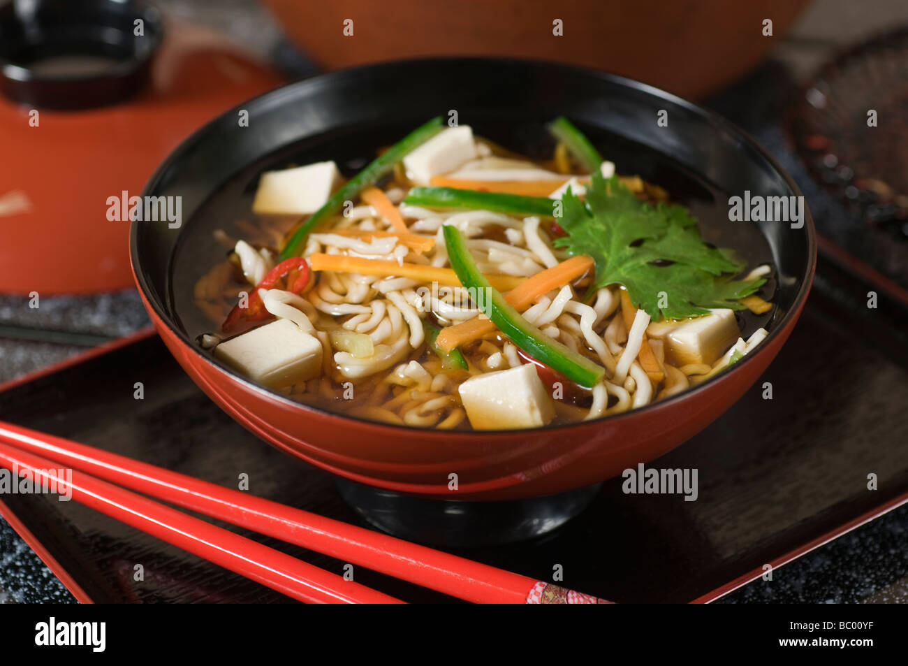 Miso soup and noodles Japan Food Stock Photo
