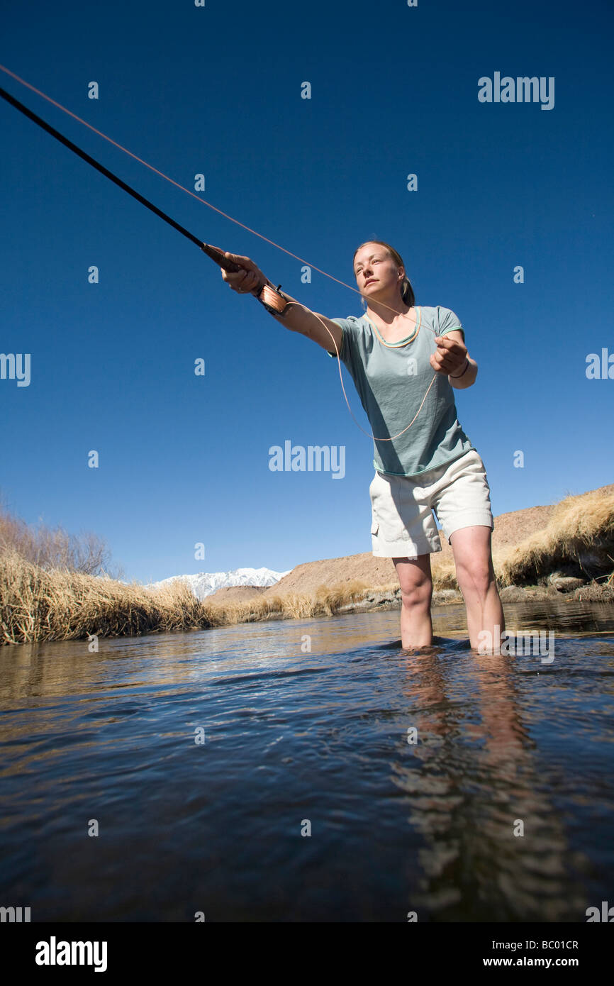 Young woman fly fishing in Bishop, CA. - Stock Image