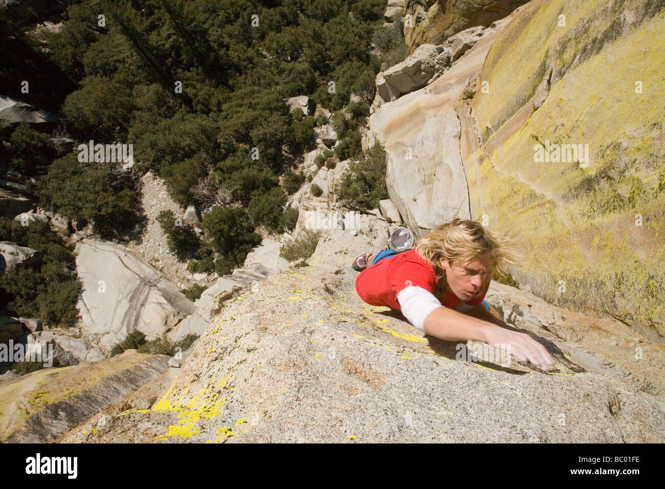 A man solo climbs in The Needles. - Stock Image