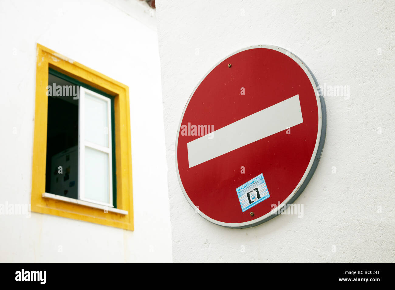 no entry sign, road sign, Obidos, Portugal - Stock Image