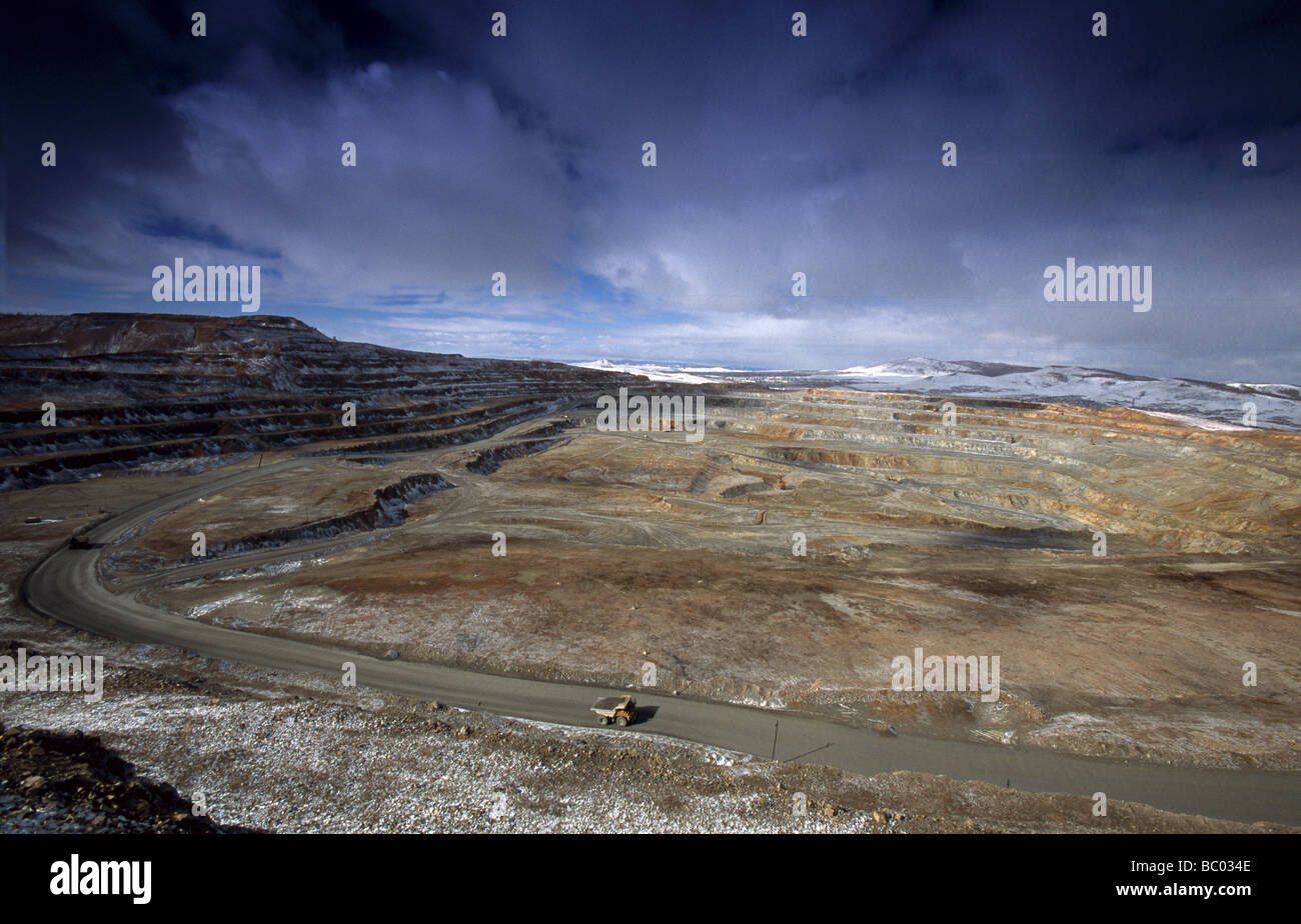 Mongolian-Russian mining venture on the outskirts of the Erdenet city, Mongolia. - Stock Image