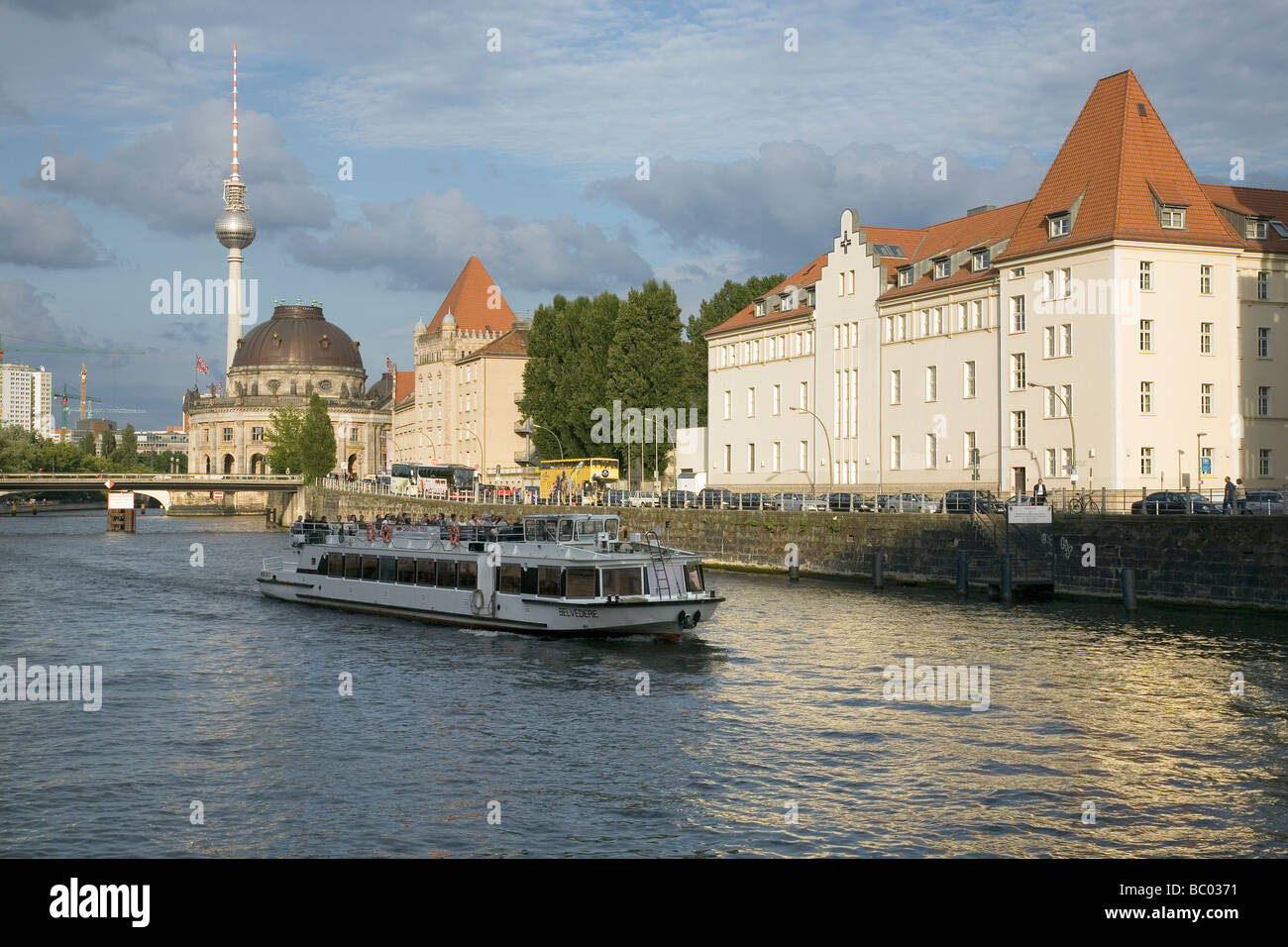 River Spree with Bode Museum, Fernsehturm and tourist boat, Berlin, Germany - Stock Image