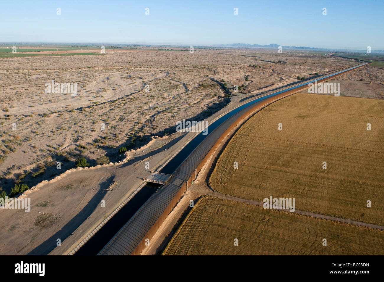 Aerial border patrol on the U.S./Mexico border. - Stock Image
