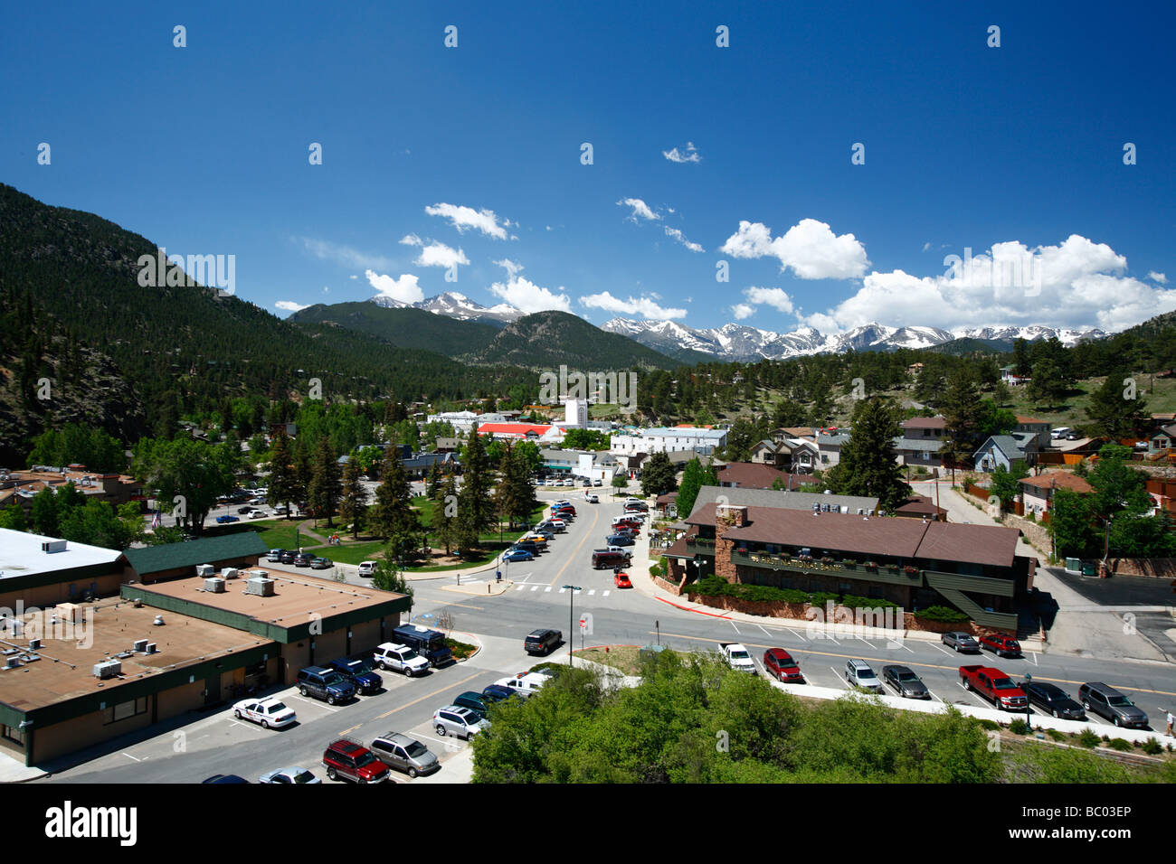 Estes Park CO and the Rocky Mountain National Park. - Stock Image