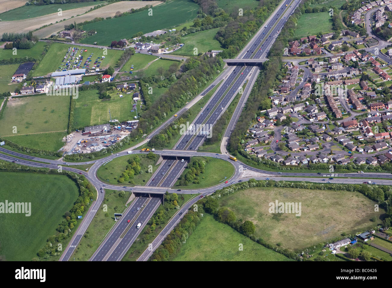 High level aerial view of M1 motorway at junction 31 in Derbyshire