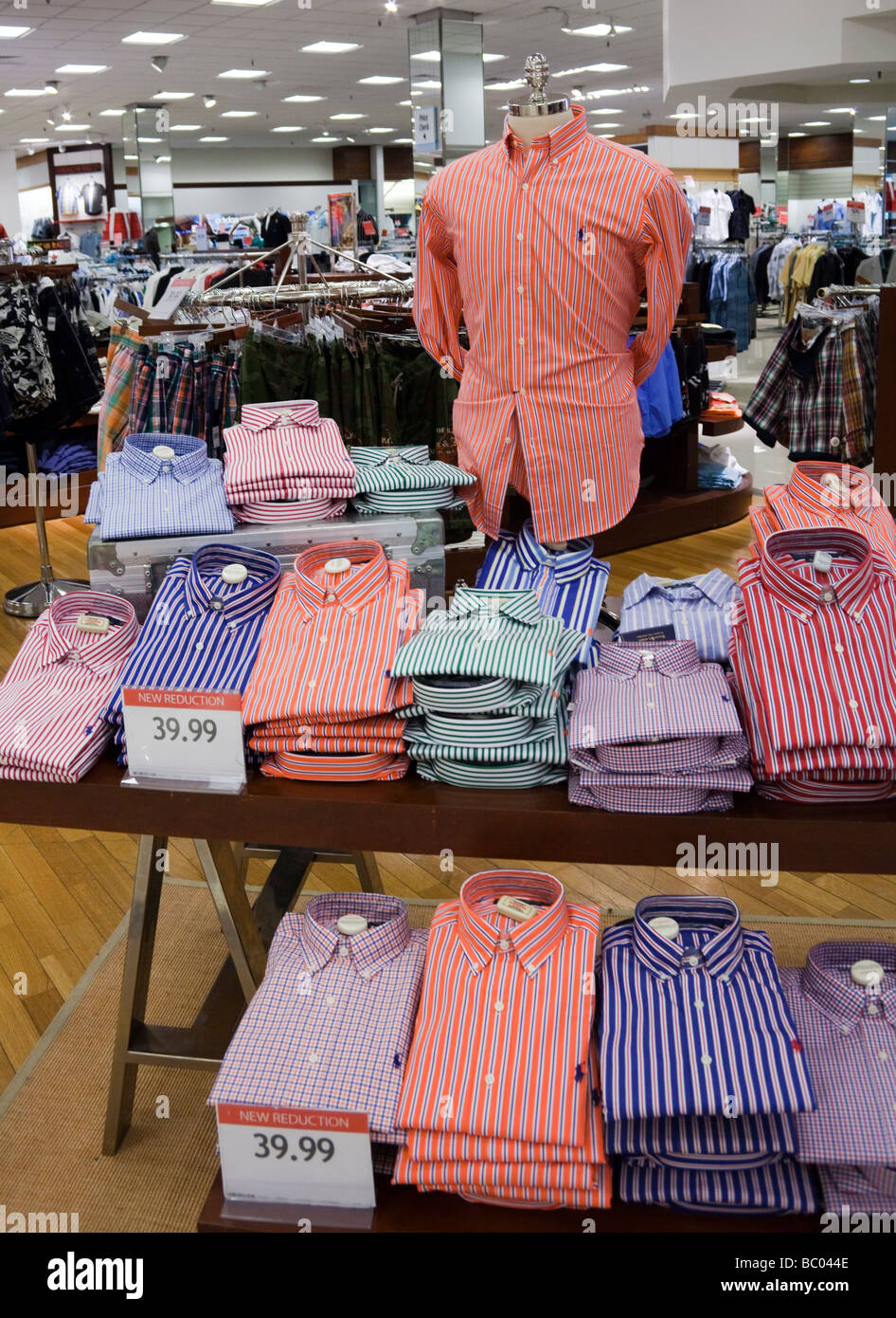 display of Polo shirts, Macy's department store, Montgomerville mall, Pennsylvania, USA - Stock Image
