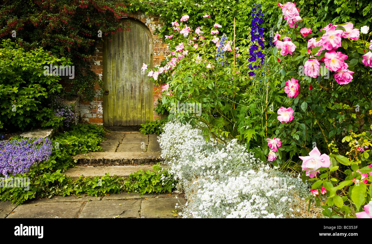 A corner of the Rose Garden at Broadleas Garden Devizes Wiltshire England UK - Stock Image