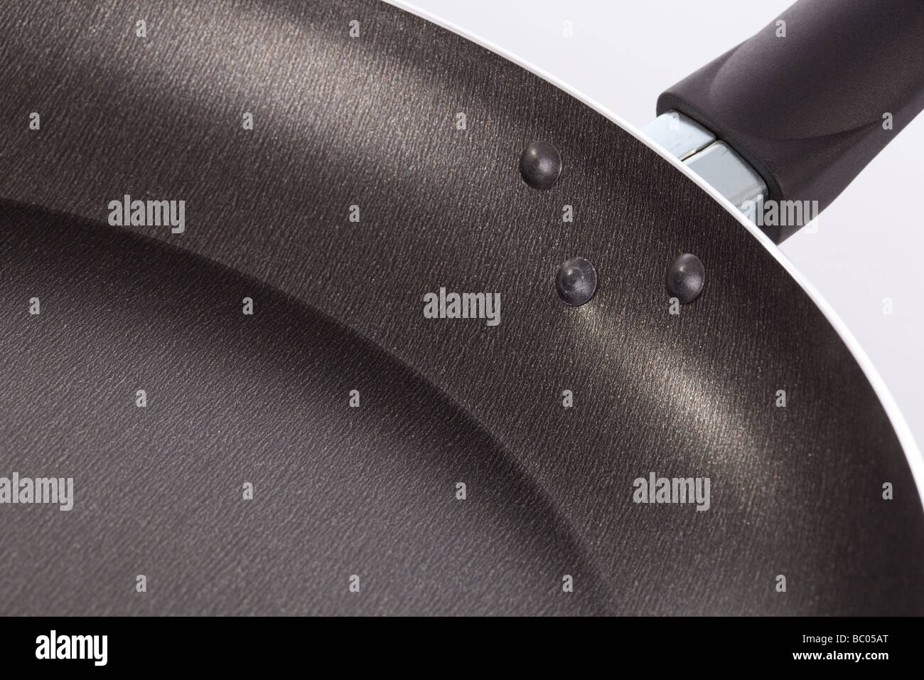 Detail of the Teflon surface in a frying pan - Stock Image