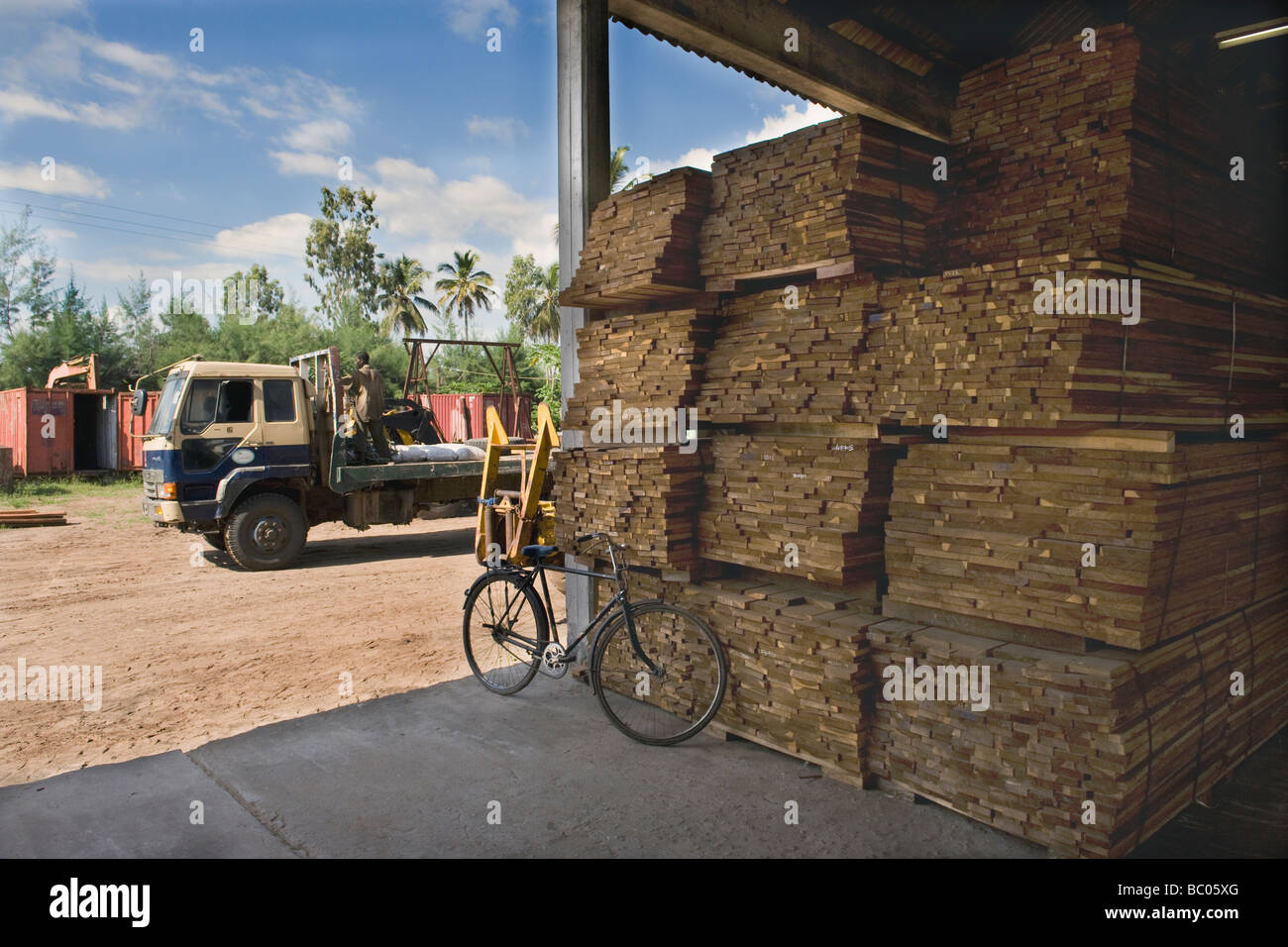 Hardwood planks for flooring cut for export in a sawmill Quelimane Mozambique - Stock Image