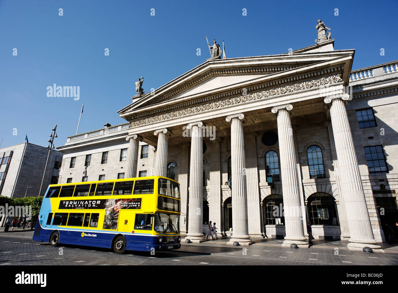 Double Decker bus passing the General Post Office GPO building on O Connell Street Dublin Republic of Ireland Stock Photo