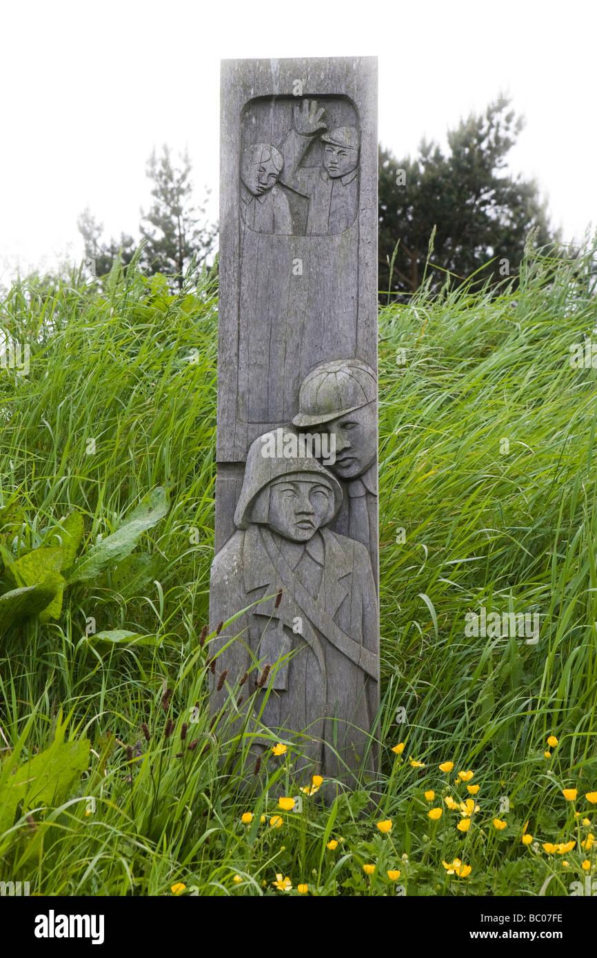 Carved wooden sign at Ravenscar Station,  Yorkshire, United kingdom - Stock Image