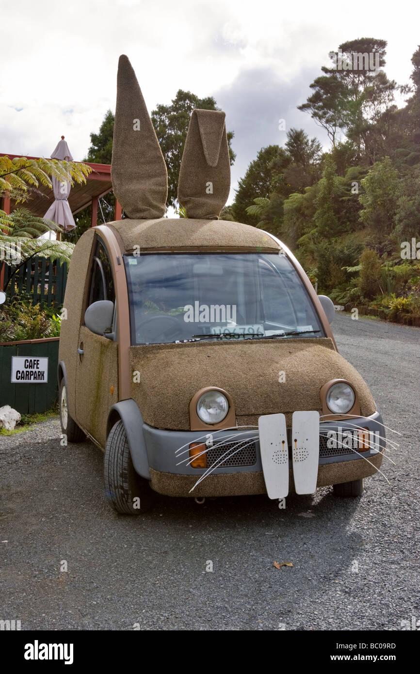 Car dressed to look like a rabbit, Top O The Dome Cafe, Waiwhiu, New Zealand. - Stock Image
