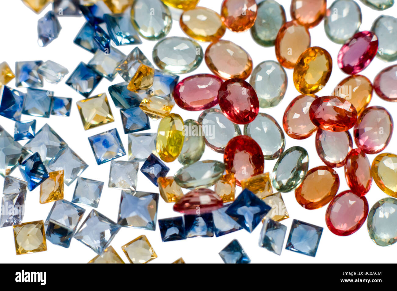 Small multicoloured natural sapphires - Stock Image