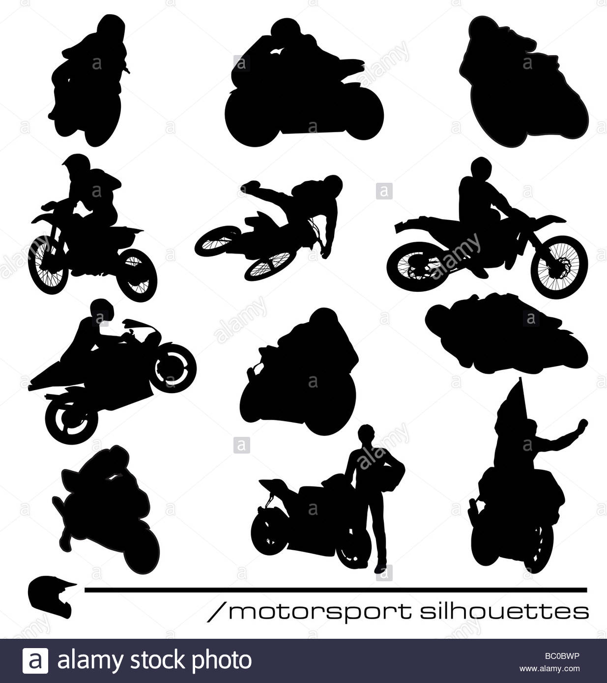 many different motocycle silhouettes with high detail - Stock Image