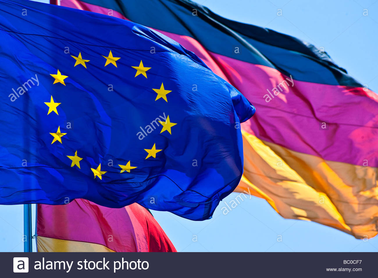 german and european flag - Stock Image