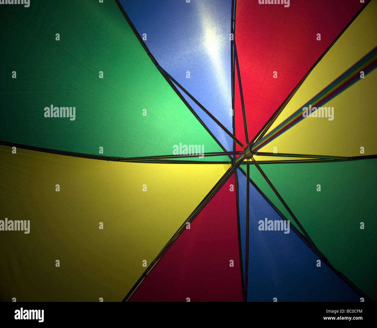 HOLIDAY CONCEPT: Colourful umbrella detail - Stock Image