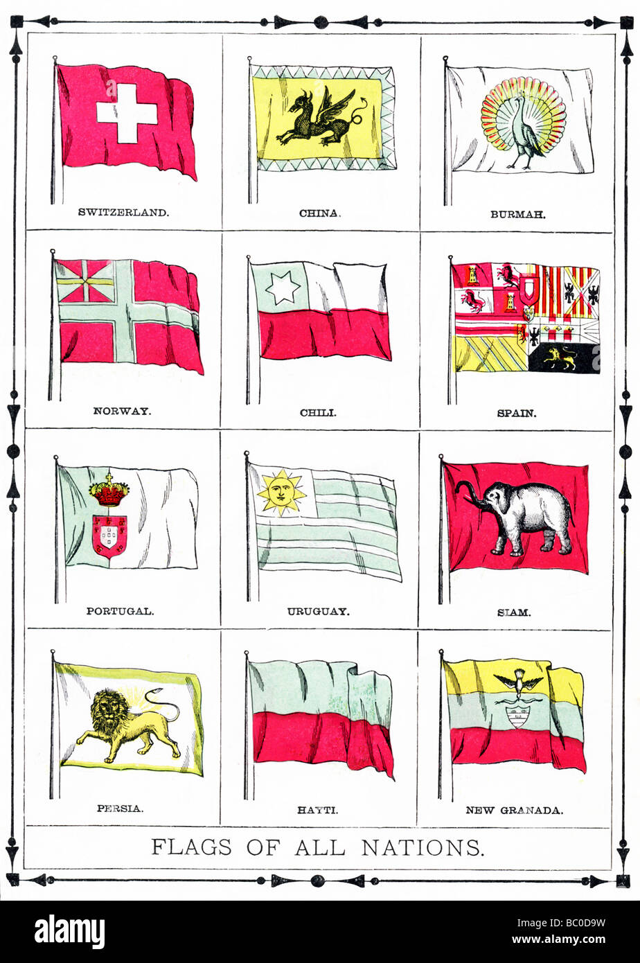 The flags shown in this illustration were current in 1896. They include Swtizerland, China, Burma, Norway, Chile, - Stock Image