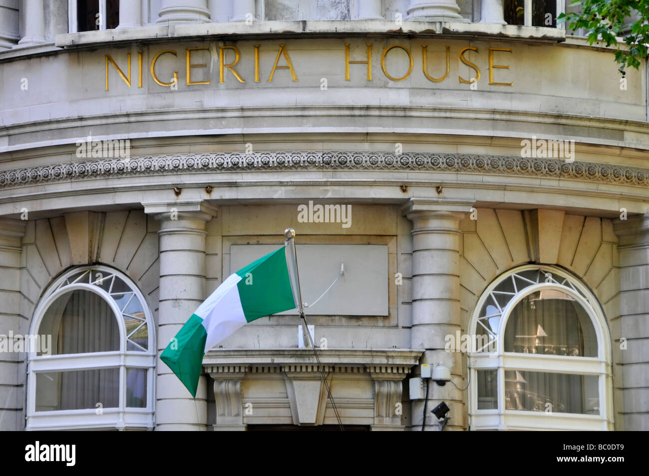 The Nigerian Embassy in London with National flag flying - Stock Image