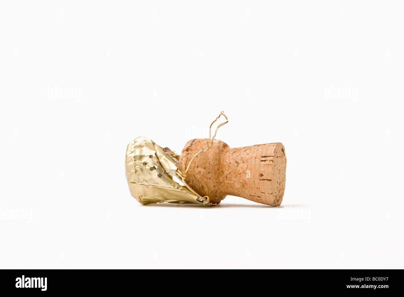 close up of a champagne cork isolated on white background - Stock Image