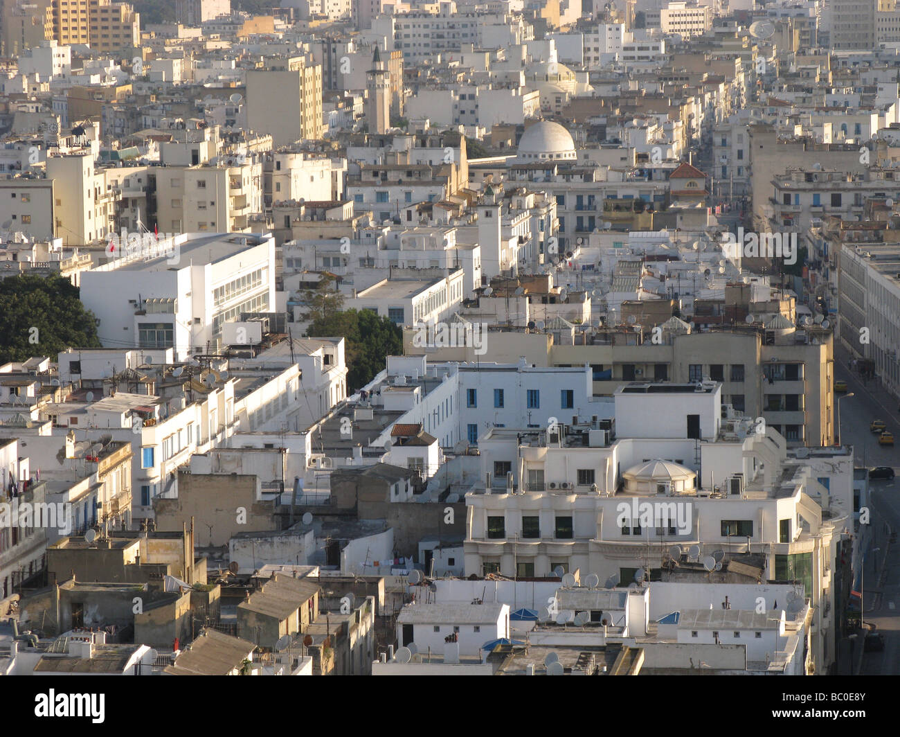 TUNIS, TUNISIA. A view over the city centre. 2009. - Stock Image