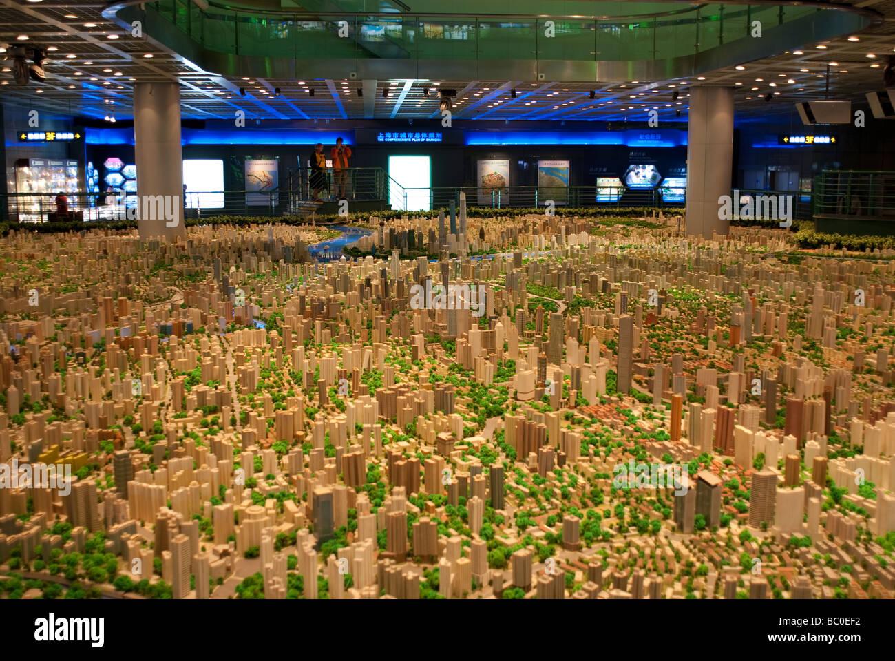 Illuminated scale plan of Shanghai for World Expo 2010 Shanghai Urban Planning Exhibition Hall China Stock Photo