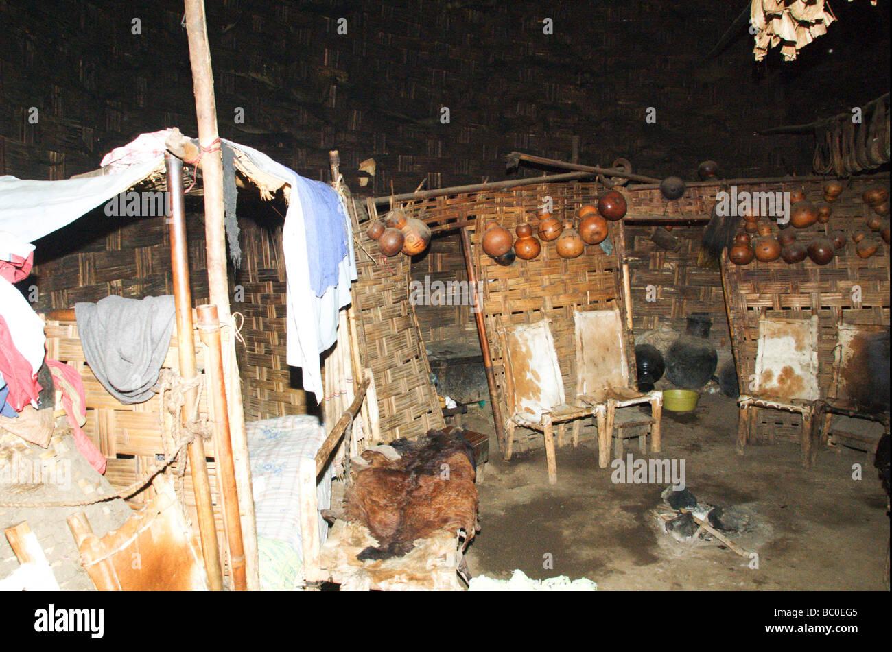 Africa Ethiopia Omo region Chencha Dorze village interior of a traditional elephant shaped hut - Stock Image