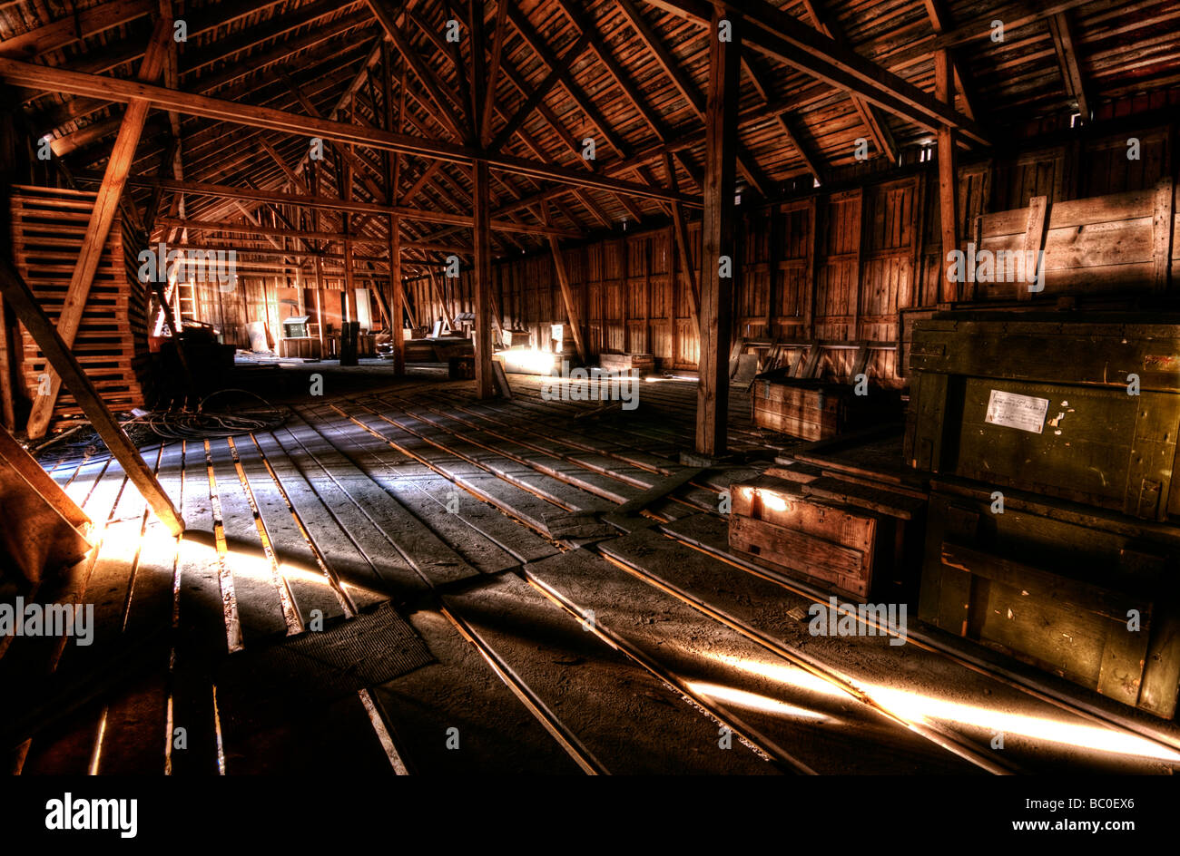 Wooden warehouse with wooden crates Stock Photo