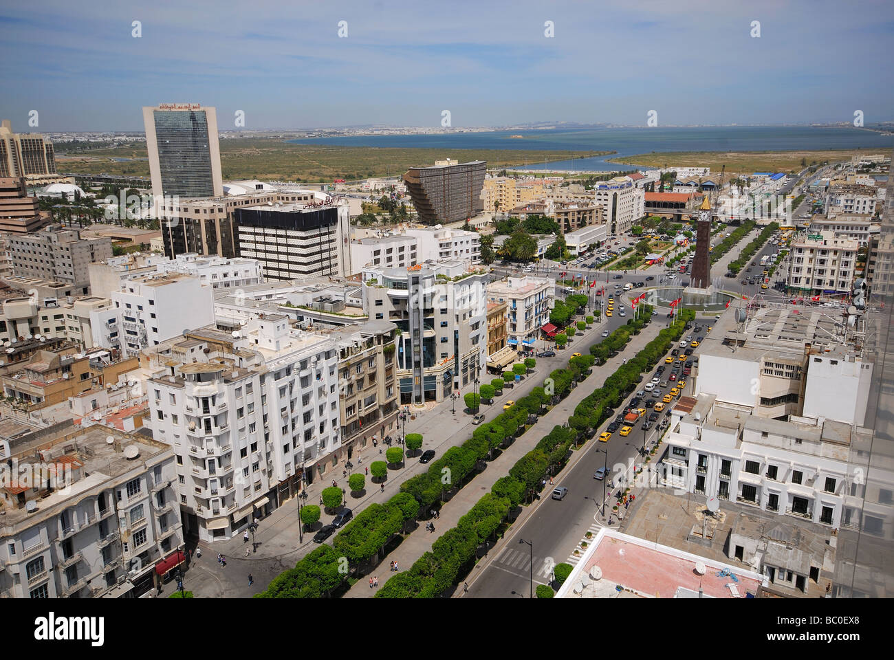 TUNIS, TUNISIA. View over Avenue Bourguiba towards Lac Tunis. 2009. - Stock Image