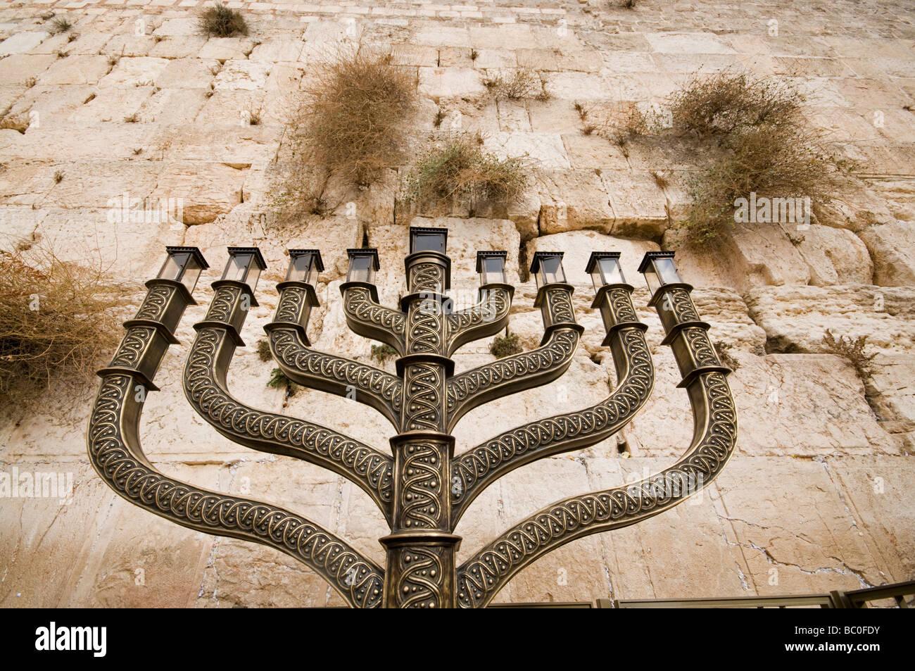 Wailing Wall Hanuka Chandelier at Wailing Wall Jerusalem - Stock Image