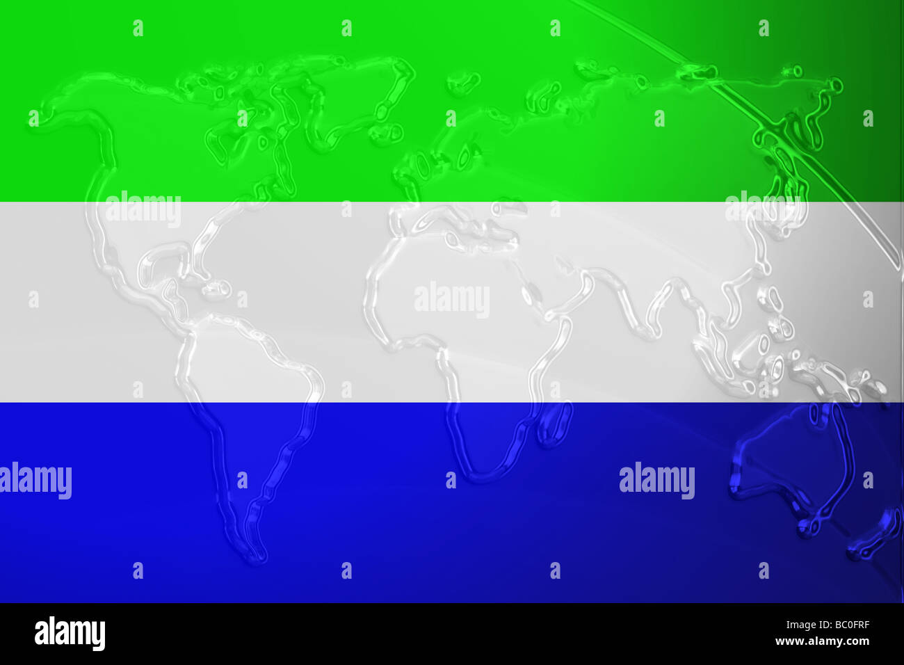 Flag Of Sierra Leone National Country Symbol Illustration With World