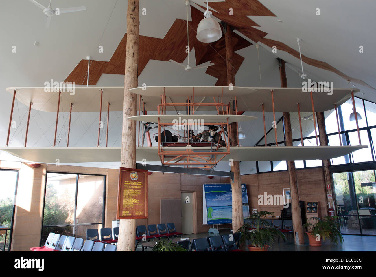 Model of the Wright brothers flier at Busselton Airport Western Australia - Stock Image