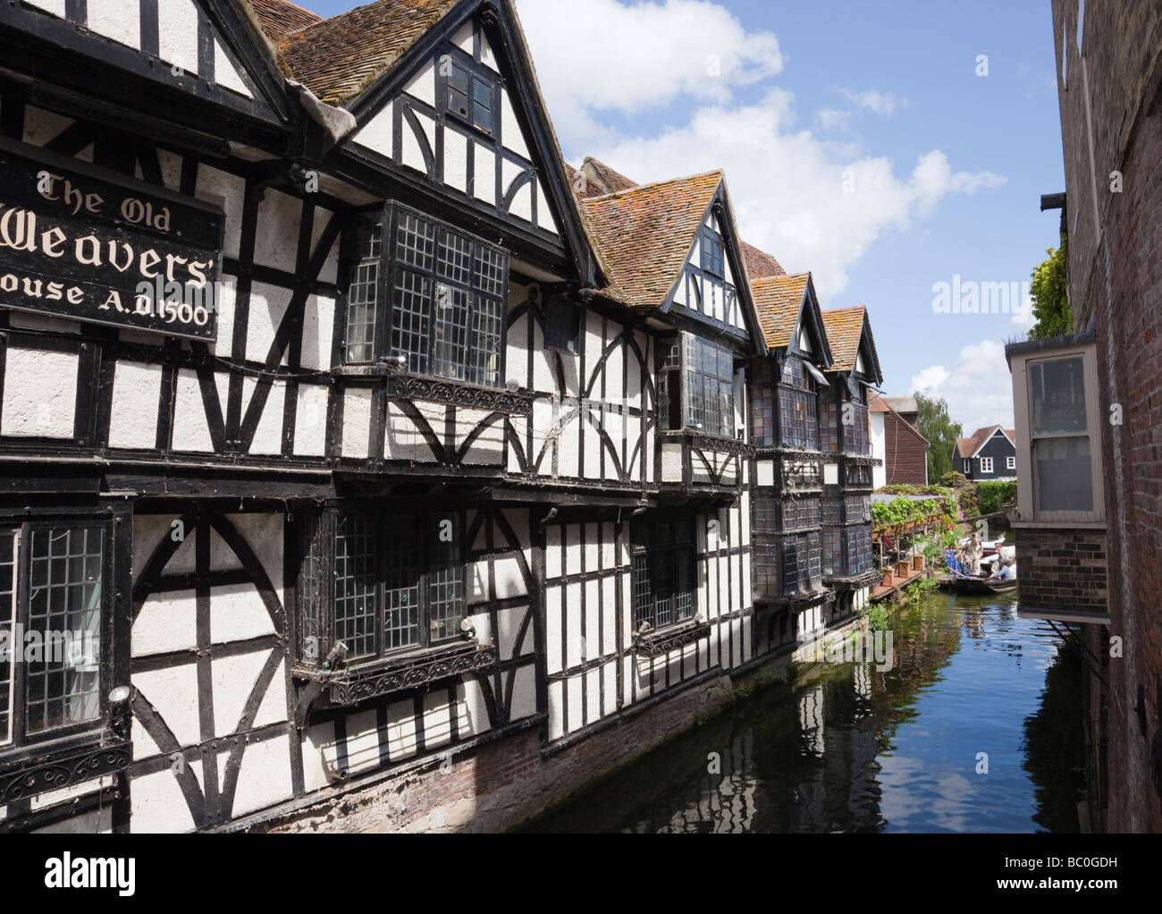 Canterbury Kent England UK 16th century Old Weavers House timber framed building beside River Stour in city centre - Stock Image