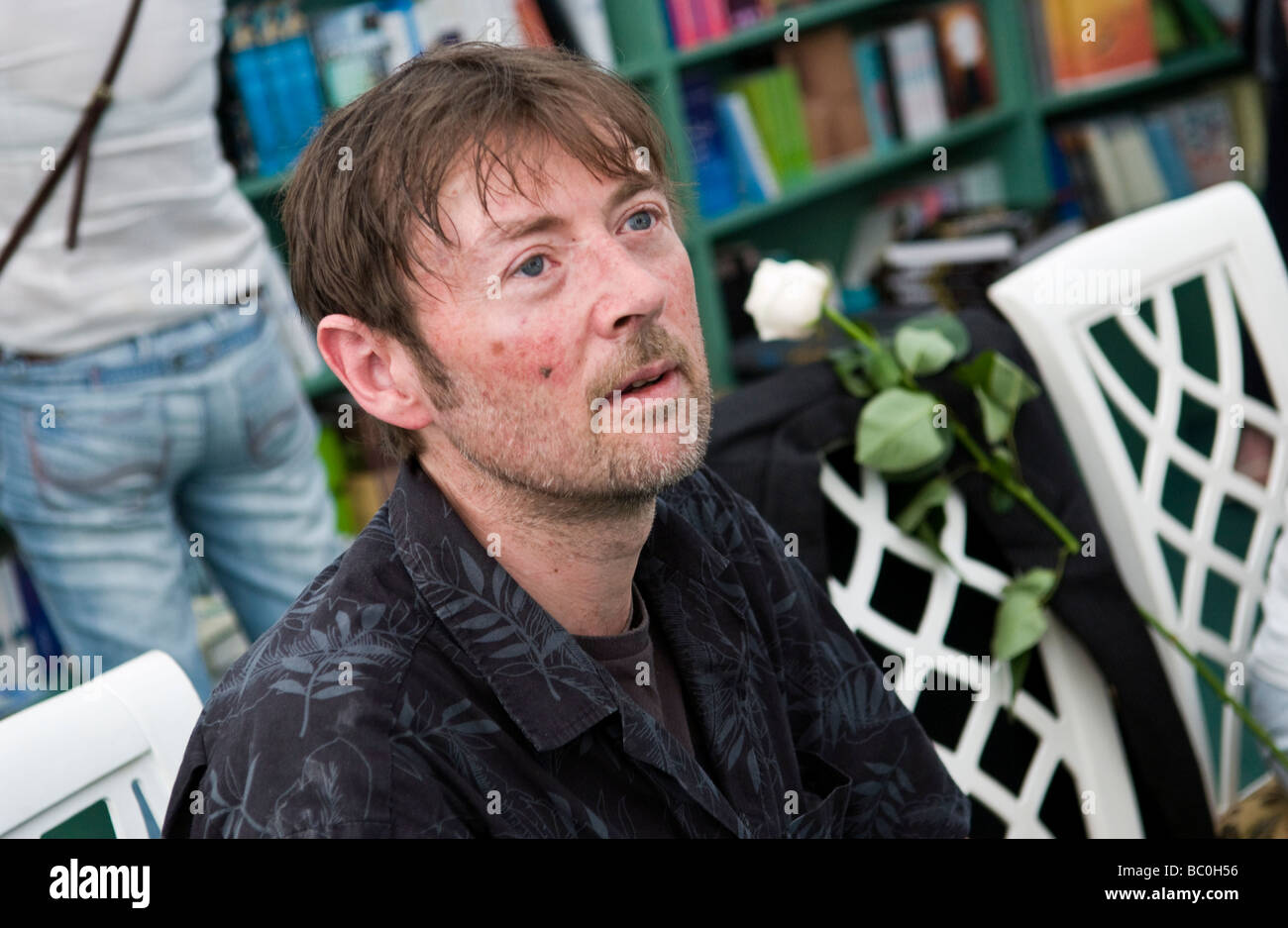 Mexican novelist DBC Pierre born Peter Warren Finlay in Australian pictured at Hay Festival 2009 - Stock Image